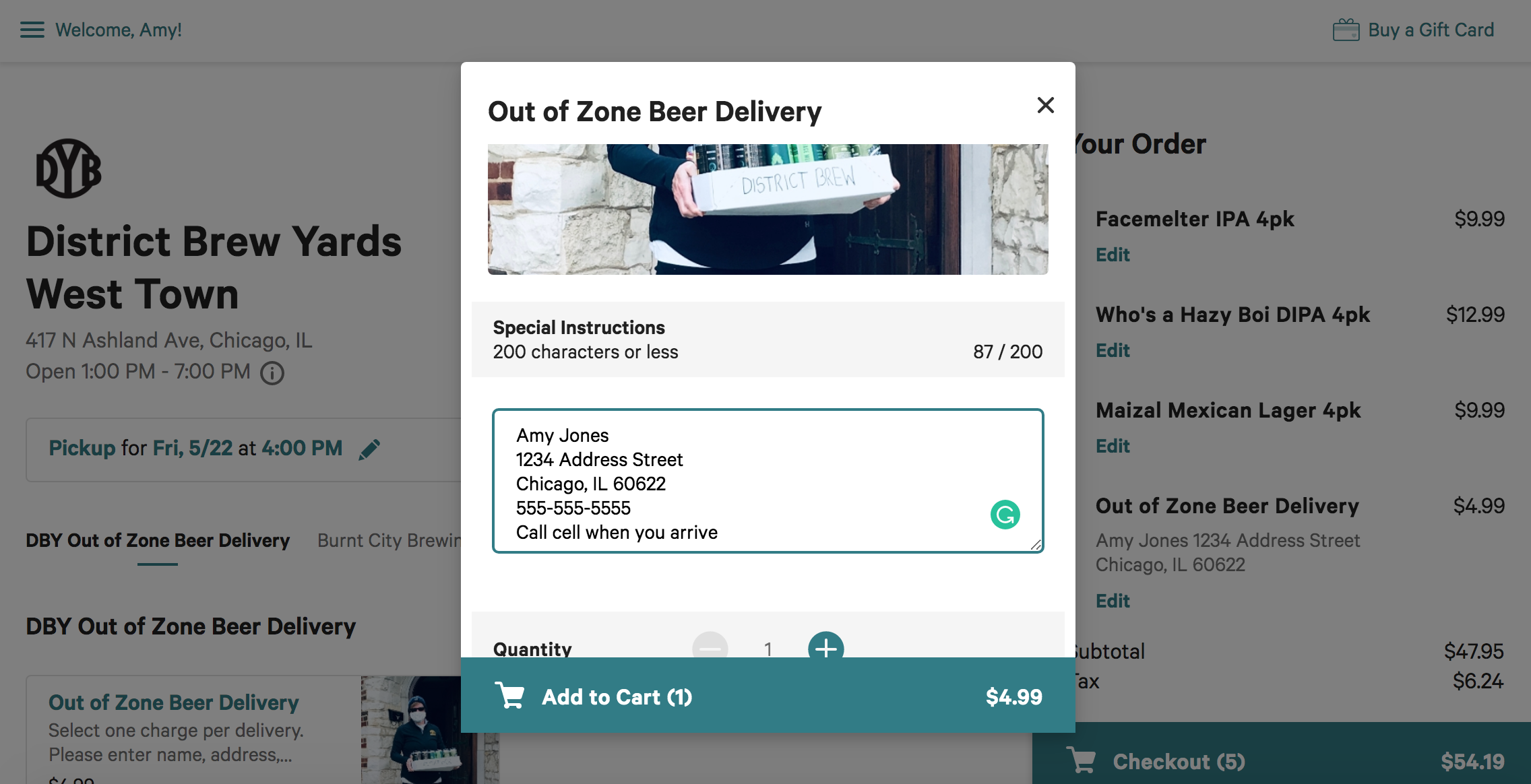 "Add address, cell phone number and delivery details to the ""Special Instructions"" box"