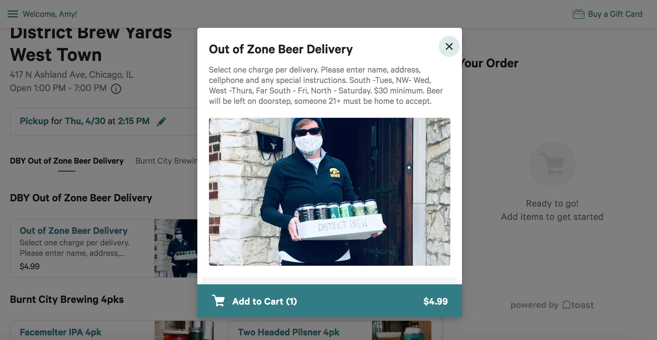 "Click to add ""Out of Zone"" delivery to your cart."
