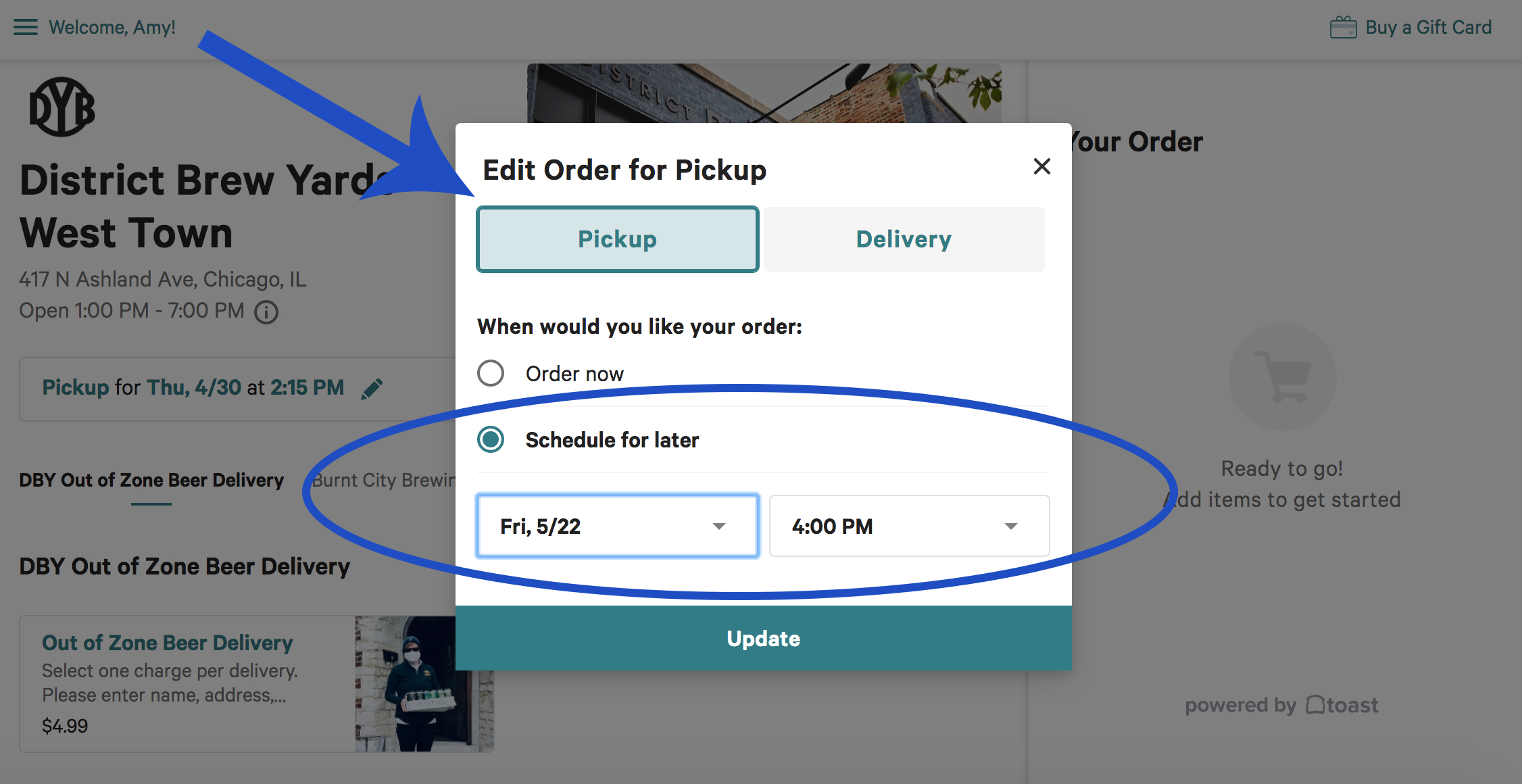 Select pickup, it will be faded blue. Select the delivery date for your relevant area.
